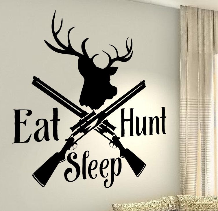 Deer Hunting Guns Stylish Wallpaper Mural Wall Stickers