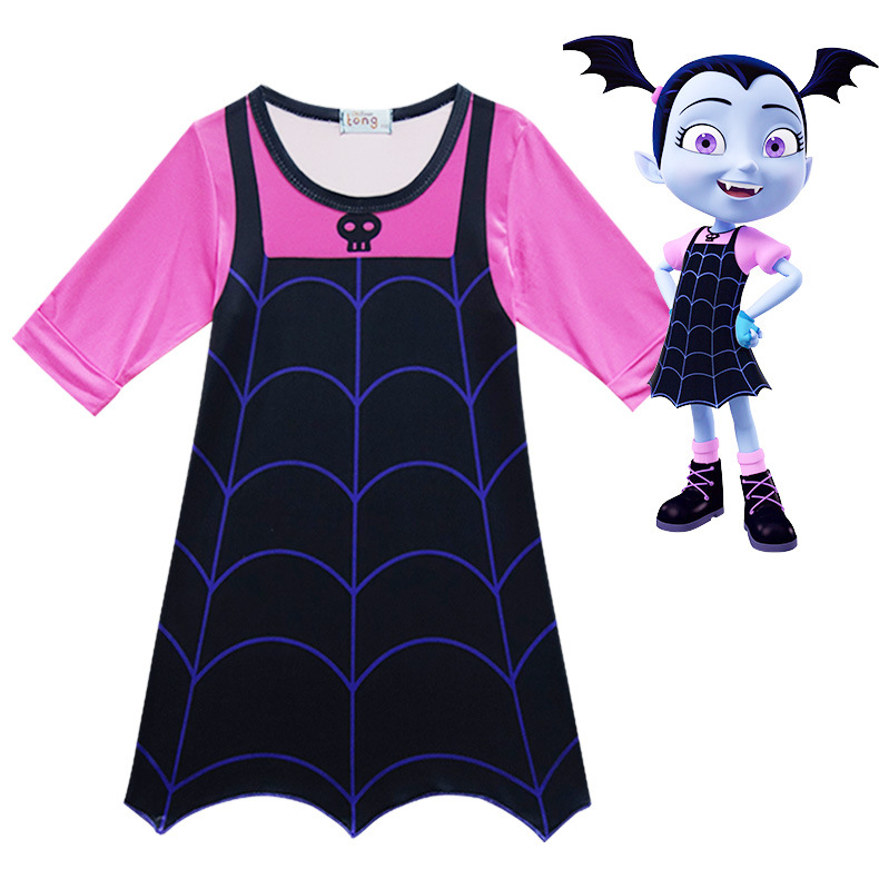 New Wearing a wig Summer Dress Christmas Costumes For Girls Lace Mesh Clothing Children Vampirina necklace Dress 10 Years