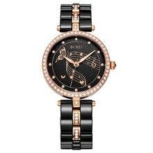 Novo Luxo Preto de Cerâmica Banda Relógios De Ouro Das Mulheres do Sexo Feminino À Prova D' Água Relógio de Quartzo BUREI Moda Strass Senhora relógios de Pulso