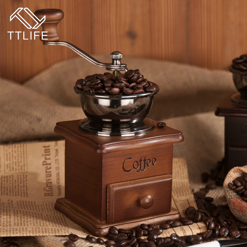 TTLIFE Classical Wooden Mini Manual Coffee Grinder Stainless Steel Retro Coffee Spice Mill With High quality