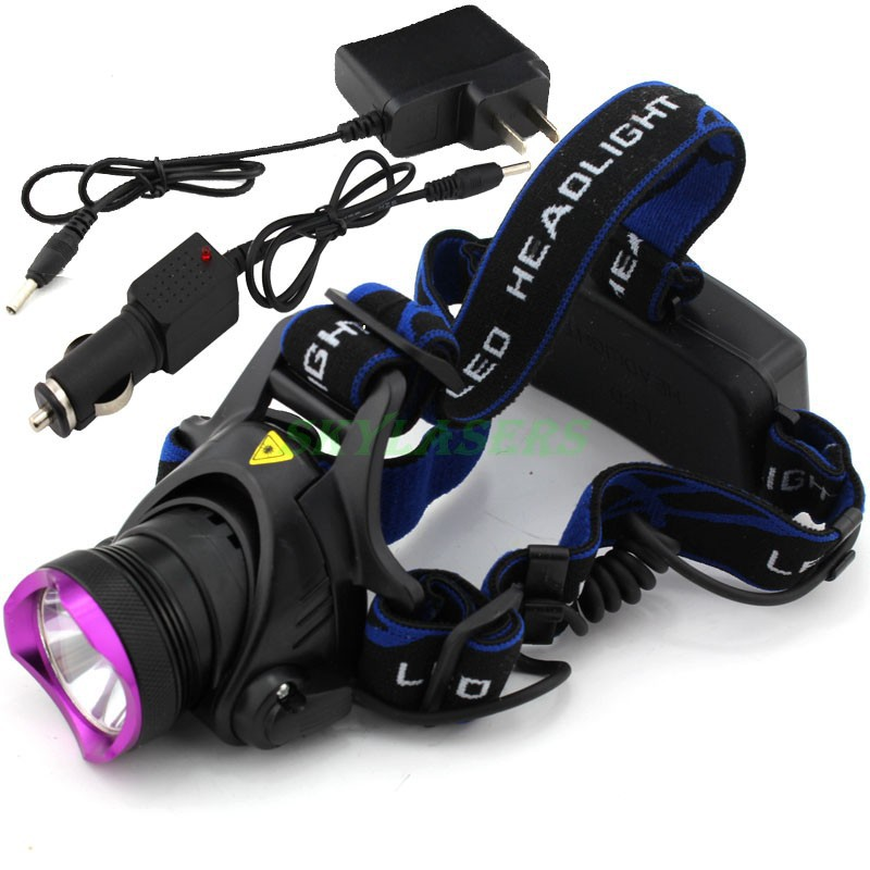 18650 Type CREE XM-L T6 LED Headlamp Headlight AC100-240v Flashlight Head Lamp Light 2000 Lumens + Car Charger + Charger