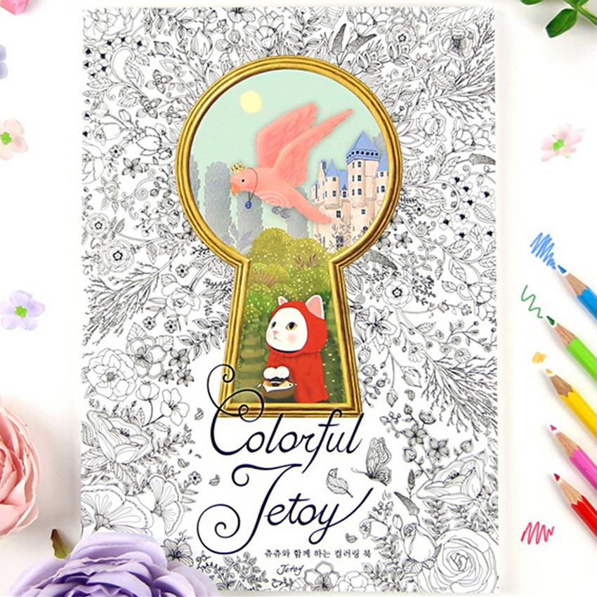 40sheets Colorful Jetoy Cat Coloring Book For Adult Children Relieve Stress Graffiti Secret Garden art coloring books graffiti art coloring book pb