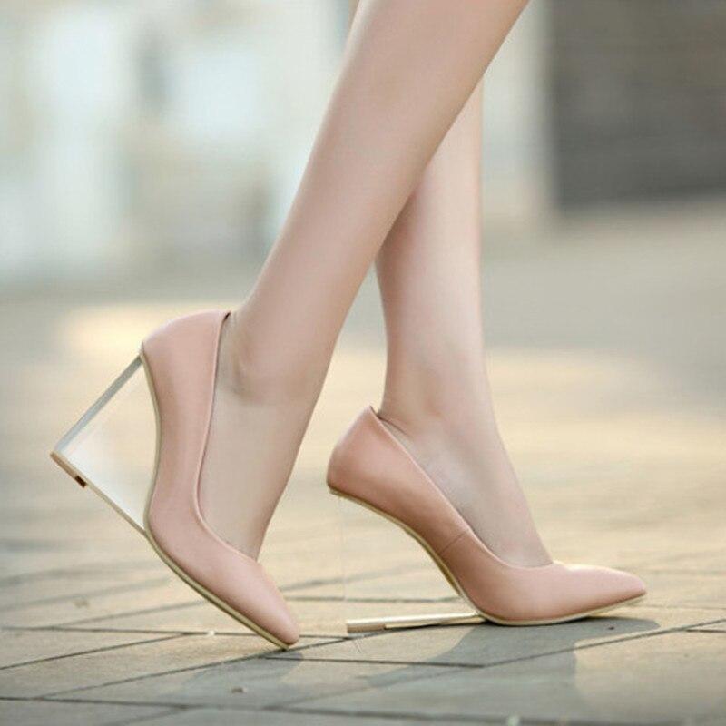 Tout nouveau chaussures en cuir véritable femmes talons hauts mode Transparent talon chaussures compensées femmes pompes bout pointu chaussures élégantes-in Escarpins femme from Chaussures    1