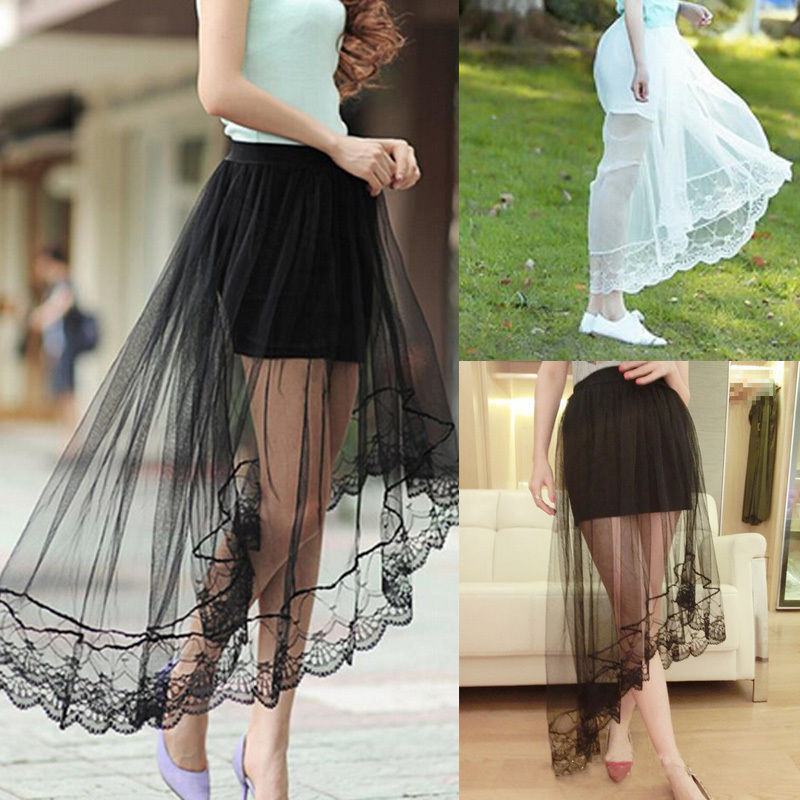 2018 Vintage Women Stretch High Waist Lace Skirt Women Skater Flared Pleated Swing Long Summer Skir