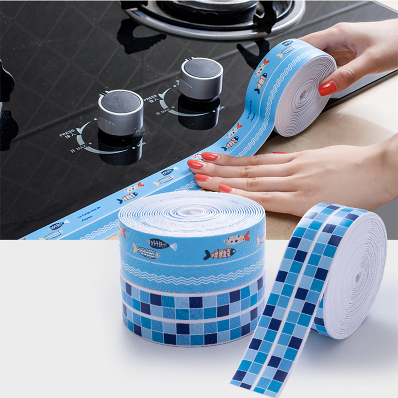 4M Waterproof Self Adhesive masking Tape PVC Ceramic Sticker Kitchen Bathroom Wall Corner Seal Tape Table Guard Strip home decor image