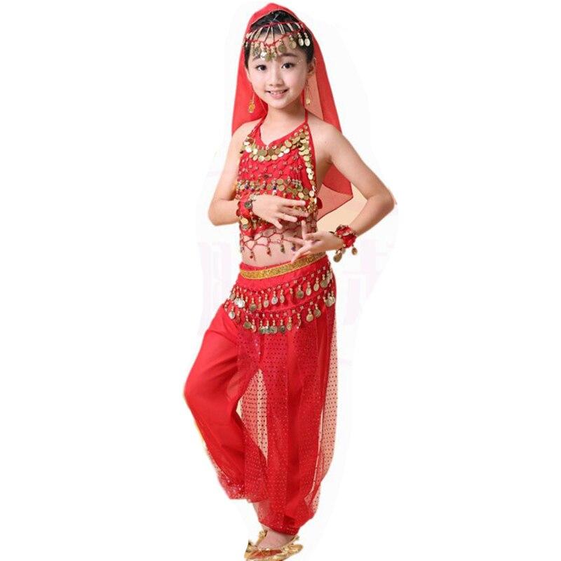 Filles danse du ventre Costume ensemble enfants danse indienne Performance enfants fille danse du ventre fille egypte danse Costumes 4 pièce 1 ensemble