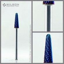 5 шт./компл.-конус бит-средний(m-113101)-Синий Nano покрытие-Wilson Вольфрам Карбид ногтей бит для электрических Маникюр dril