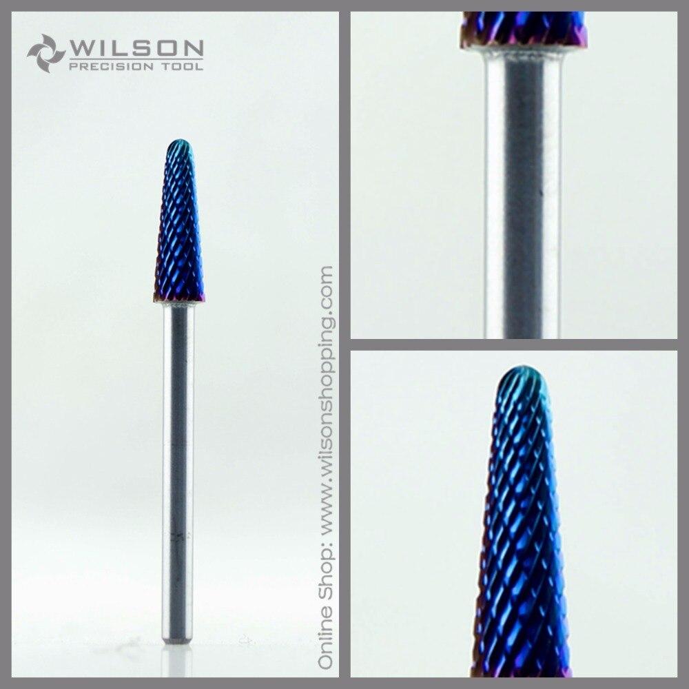 5 pz/set-Bit Cono-Medium (M-113101)-blu Rivestimento Nano-WILSON Carburo di Tungsteno Chiodo Bit Per Electric Manicure Dril