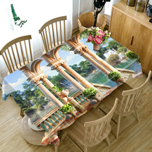 Europe Architecture print 3d Round Tablecloth Beach Scenery Pattern Washable Thicken Cotton Rectangular Table Cloth for Wedding