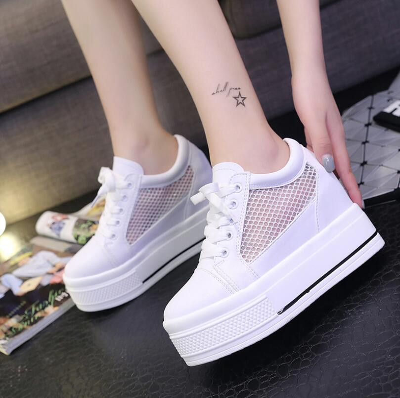Summer casual shoes platform shoes white shoe women breathable mesh cloth lace-up Increased within students thin shoe 2017 summer women shoes casual cutouts lace canvas shoes hollow floral breathable platform flat shoe white black 23 25 5cm