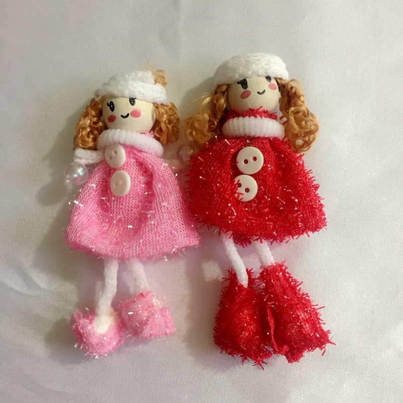 30Pcs 100mm Red / Pink Girl Wool & Wood Children Party Decoration Cloth Paste Jewelry Charms DIY Jewelry Accessories image