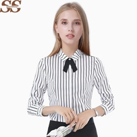 Women Stripe White Chiffon Blouse OL Female Shirt Office Ladies Tops Blusas Casual Long Sleeve Chemise