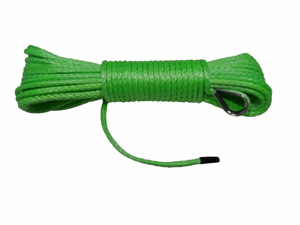 Green 5mm*15m Synthetic Winch Rope ,ATV Winch Line,Plasma Rope,ATV Winch Cable,Towing Rope,Kevlar Rope