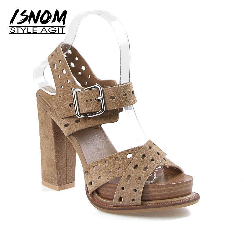 ISNOM New Summer High Heels Sandals Women Peep Toe Cow Suede Sandals Shoes Square Cutout Footwear