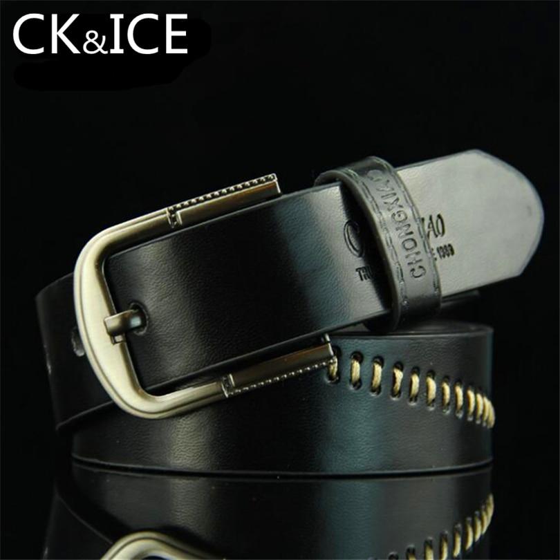 CK&ICE Faux Leather Belts For Men Casual Male Vintage Pin Buckle Belt Letter Printing Pattern Emboridery Line Decoration Men