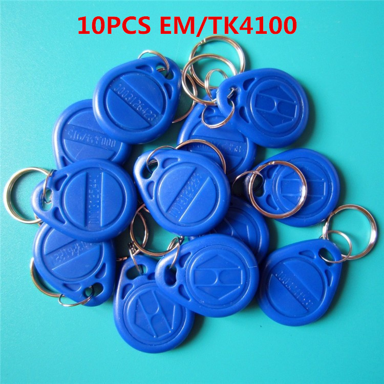 10Pcs/lot 125khz RFID EM4100 TK4100 Key Fobs Token Tags Keyfobs Keychain ID Card Read Only Access Control RFID Card usb 125khz em4100 rfid proximity reader 5 cards 5 key tags 5 dia card