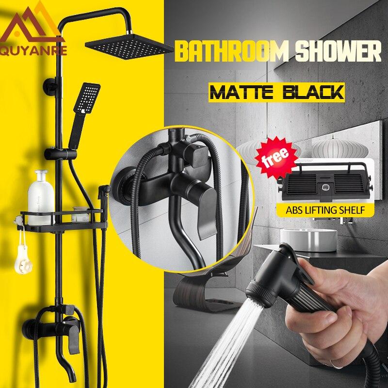 Quyanre Matte Black Shower Faucet Set 4-way Shower With Commodity Shelf Bidet Spray Swivel Tub Spout 4-way Mixer Tap Bath Shower