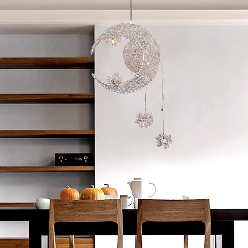 Aluminum Wire Moon & Star Kid\'s Bedroom Pendant Light Living Room ...