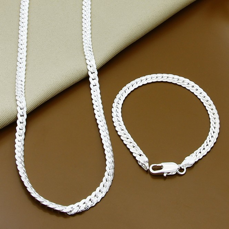 Bracelet-Sets Necklace 925-Silver Woman Men for Top-Quality 6MM Wholesale-Price Full-Sideways