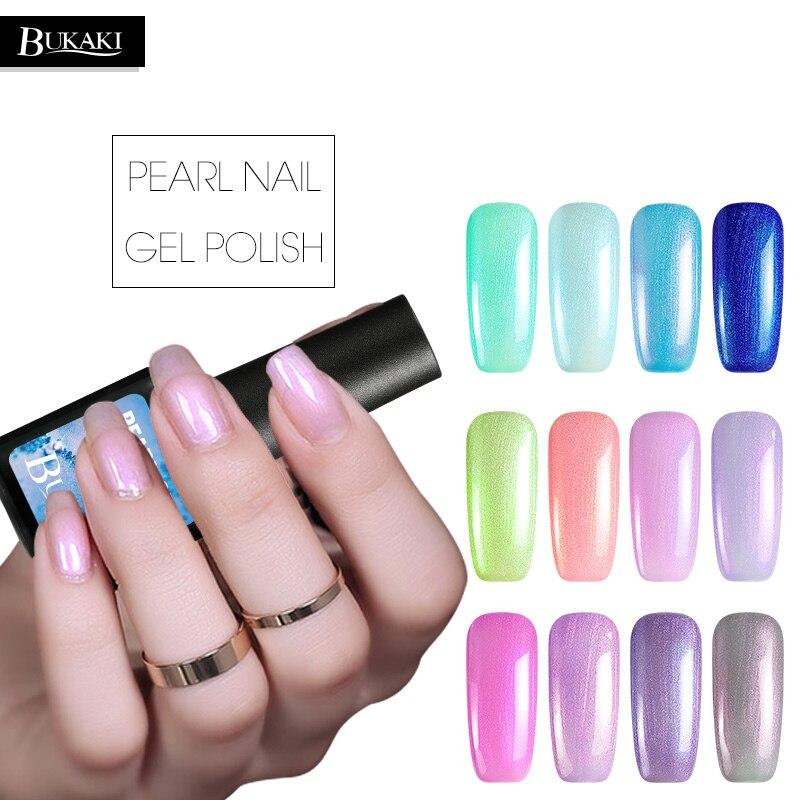 BUKAKI UV Gel Polish Pearl Shiny Sea Shell Colorful Nail Gel Varnish Soak Off Nail Art