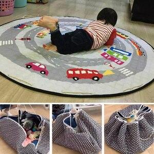 Image 1 - Portable Kids Toy Storage Bag And Play Mat Baby Crawling Blanket Mat/Rug/Carpet For Children   Soft Cartoon Toys Organizer Round