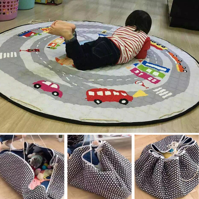 Portable Kids Toy Storage Bag And Play Mat Baby Crawling Blanket Mat/Rug/Carpet For Children   Soft Cartoon Toys Organizer Round