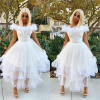 BKLD Women Summer Dress 2019 Off The Shoulder Feathers Tutu Mesh Lace Patchwork Sexy Clubwear Bohemian Clothing Dresses Women