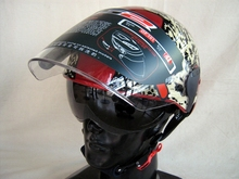 Free shipping LS2OF101 motorcycle helmet electric cars summer wear and washable lining double mirror / red gold leopard head