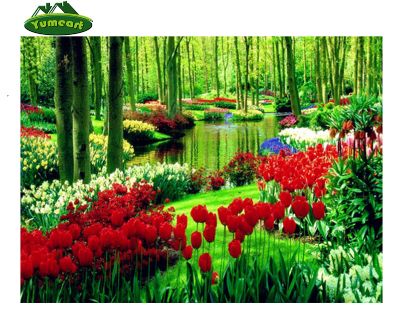 NEW Arri5D DIY Full Square Drill Diamond Drawing Cross Stitch Tree Plants and Red Tulip Rhinestone Diamond Embroidery Home Dcor