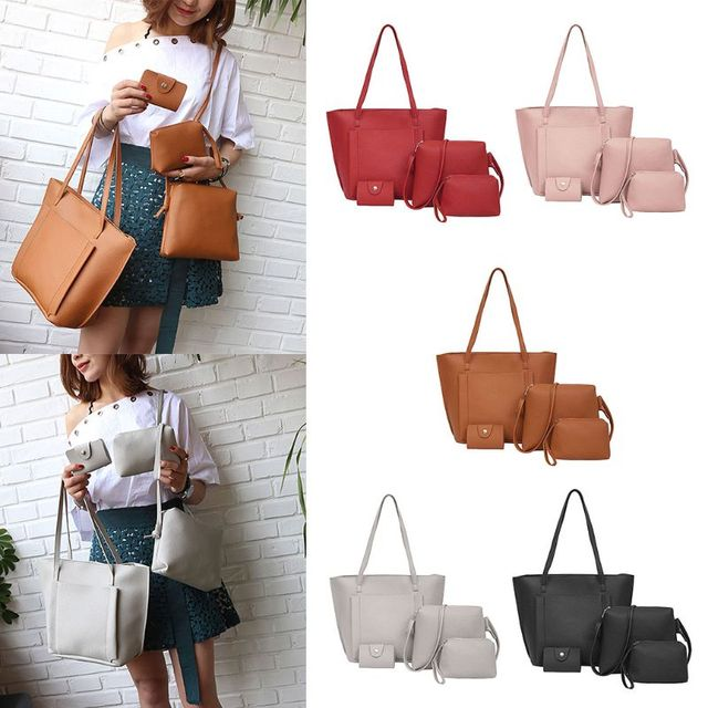 dd7991ebbbf NoEnName Null High Quality Polyester 4Pcs Women Lady Polyester PU Leather  Handbag Shoulder Bags Tote Purse Messenger Satchel Set