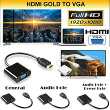купить 1080P HDMI Male to VGA Female Video Cable Cord Converter Adapter For PC Monitor по цене 230.56 рублей
