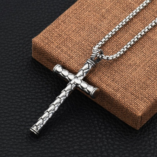 Fashion men jewelry cylindrical design cross pendant necklaces fashion men jewelry cylindrical design cross pendant necklaces 70cm long chain stainless steel men punk necklace aloadofball Images