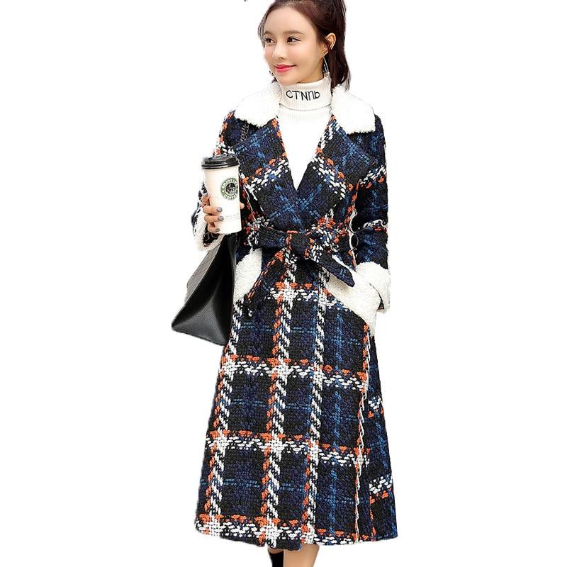 New Winter Women Wool Blends Coat 2019 Fashion Elegant  Plaid Slim Thicken Jacket Parkas Long Tweed Woolen Outerwear Female 866-in Wool & Blends from Women's Clothing    1
