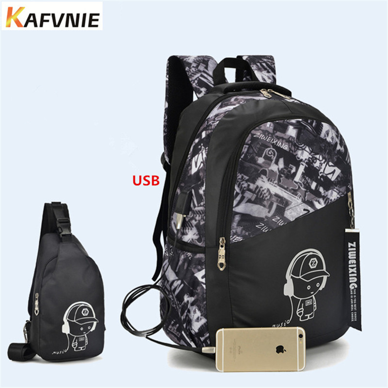 2018 2pcs USB Male backpack Chest pack set red and blue high school bag for Luminous men boys one shoulder big student book bag