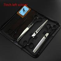 7 INCH Black Hand Left Hand Professional Pet Scissors Sets JP440C Straight Thinning Curved Scissors Sets