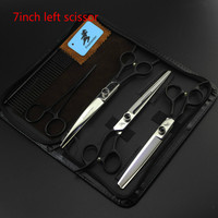 7 INCH Black Hand Left Hand Professional Pet Scissors Sets JP440C Straight Thinning Curved Scissors Sets