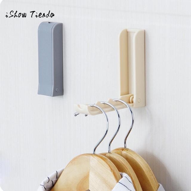 1pc Folding Door Back E Saving Clothes Hanger Hook Rack For Bathroom Bedroom Multi Purpose