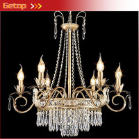 American Countryside Crystal Chandelier Atmosphere European Style Iron Crystal Chandelier Bedroom Restaurant Living Room Lights
