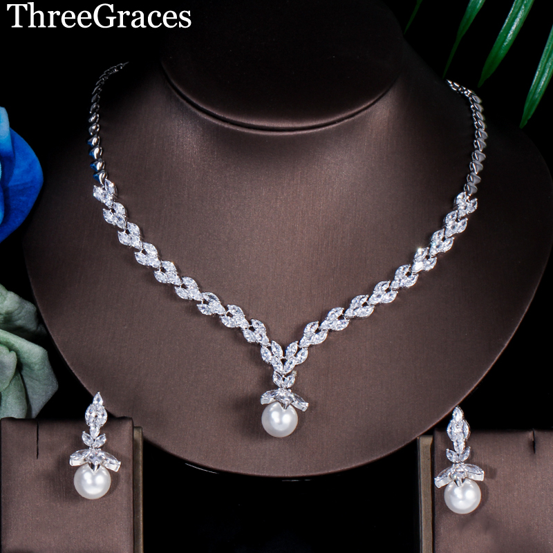 ThreeGraces Brand White Gold Color Cubic Zirconia Leaf Shape Earrings Necklace Wedding Pearl Jewelry Sets For Brides JS239ThreeGraces Brand White Gold Color Cubic Zirconia Leaf Shape Earrings Necklace Wedding Pearl Jewelry Sets For Brides JS239