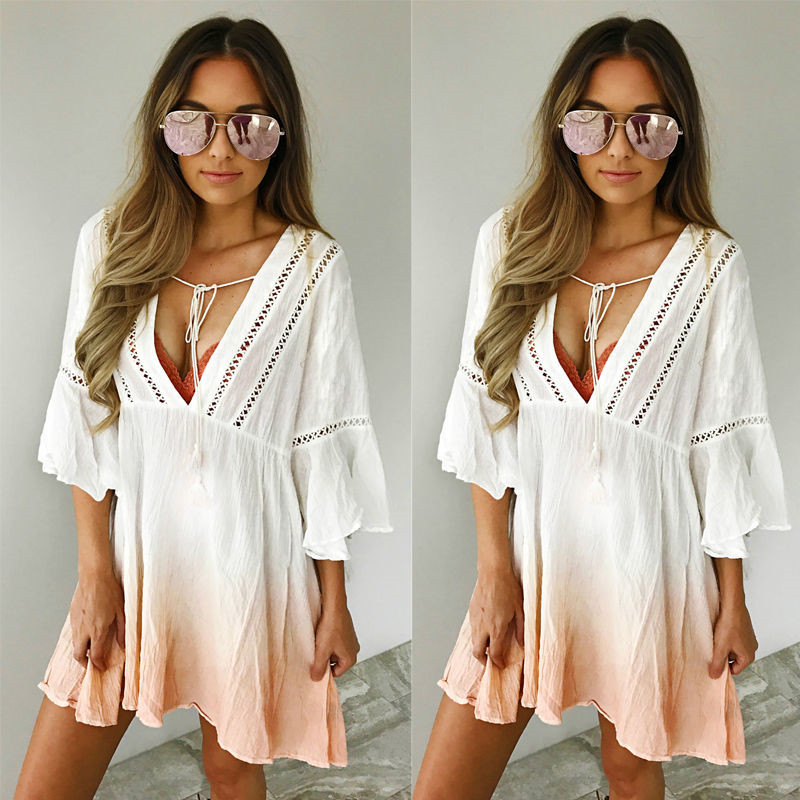 цена на Hot Sale Swimwear Women Pareo Beach Cover Up Chiffon Saida De Praia 2017 Summer Bikini Swimsuit Cover Up Kaftan Swim Beach Wear