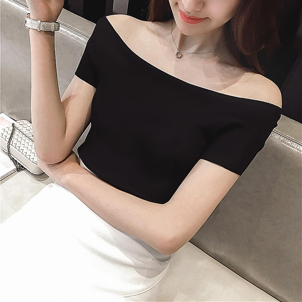 womens t shirt Summer Fashion Sexy Off The Shoulder Tops Casual Short Sleeve Cotton T-shirts Black White Red Gray Blue