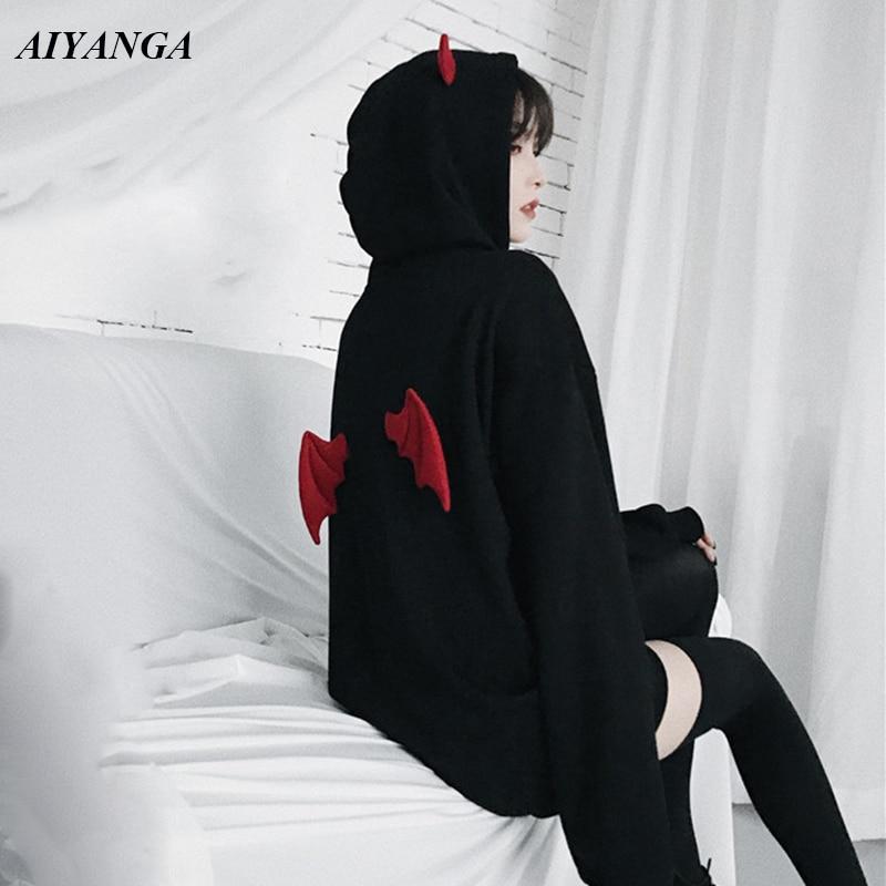 Black Gothic Hoodies Women 2019 Spring Medium Long Hoodies Pullovers Tops Outerwear Plus Velvet Thicken Warm Coat Autumn Winter