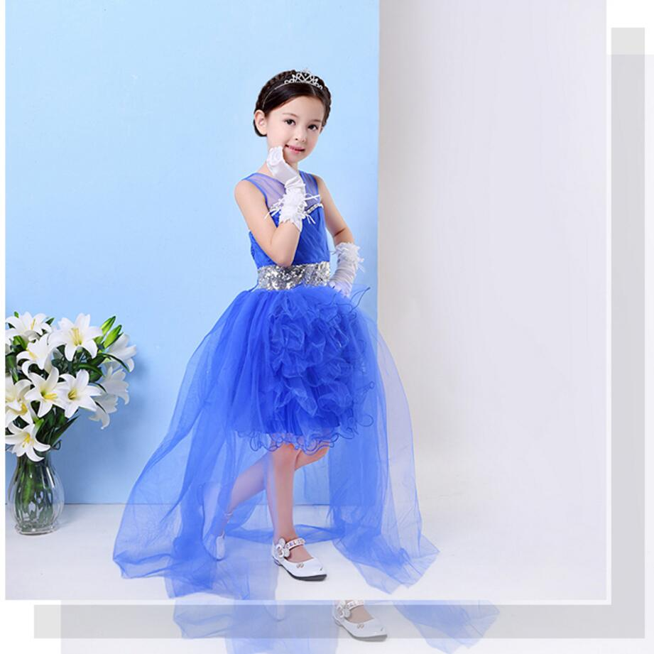 Short Front Long Back Flower Girl Dresses Sequins Sleeveless Ball Gown Girls Pageant Dress For Wedding Evening Party european and american new sequins lace sleeveless nude meal flower girl dresses show girls poncho big wedding dress