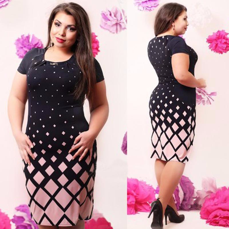 5XL 6XL Large Size 2017 Summer Dress Big Size Casual Printed Dress Pink Green Straight Dresses Plus Size Women Clothing Vestidos