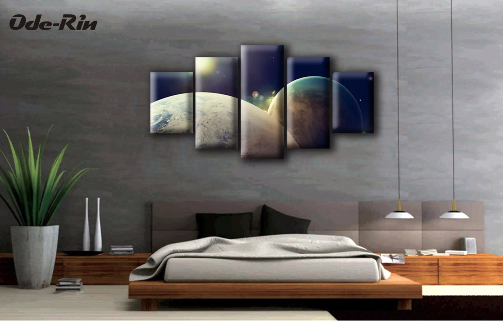 Framed Wall Art For Living Room Beige Color Schemes Rooms Oderin Canvas Pictures 5 Piece No Frame Artisitc Decorations Diy Oil Painting Earth