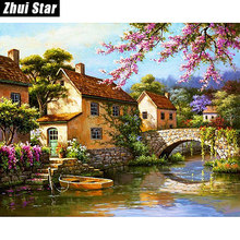 "Diamante cuadrado completo 5D DIY diamante pintura ""hermoso paisaje"" bordado punto de cruz diamante mosaico pintura decoración del hogar(China)"