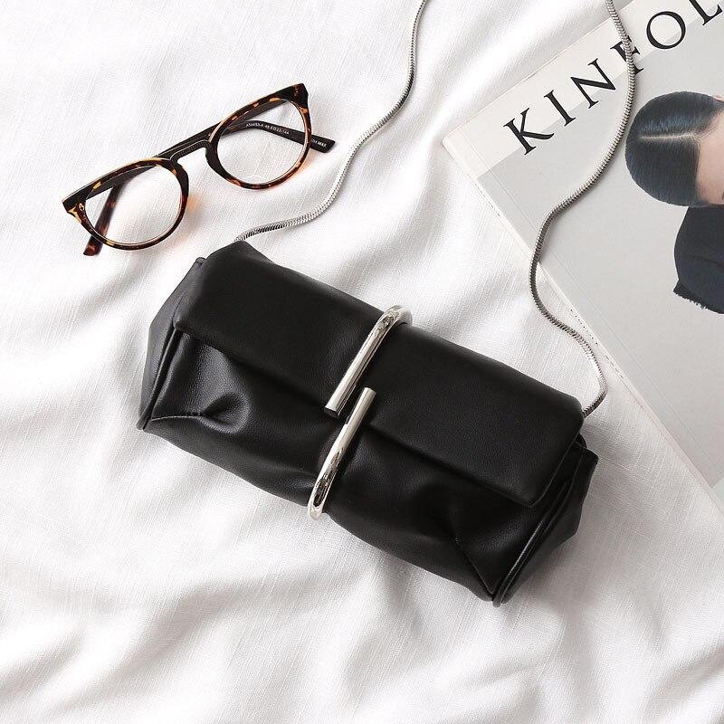 ФОТО Women Metal Clip Hand Bag Clutch Mini Sheep Hand Bag Shoulder Chain Mini Bag Genuine Leather Ladies Handbag Purse