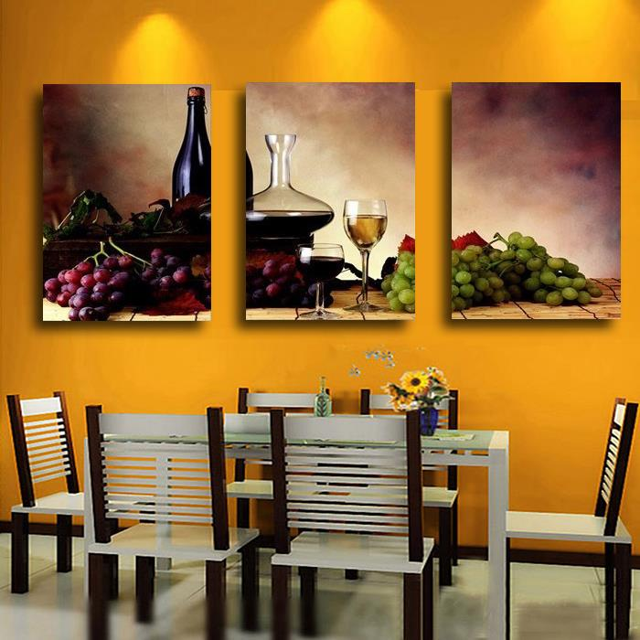 3 Pieces Modern Wall Oil Painting Abstract Wine Fruit Kitchen Art Canvas On The Home Decor Modular Pictures In Calligraphy