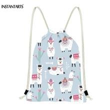 INSTANTARTS Drawstring Bag Women's Men's Fashion Drawstring Backpack School Boy Schoolbag Cartoon Alpaca Print Satchel 2019 New