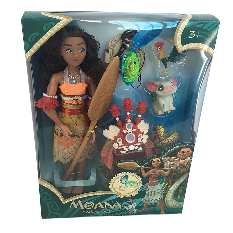 6pcs/set Disney about 30cm Moana Princess Doll with Lights Music Action Figure Dolls Costumes for Childrens Birthday Gift character catboy owlette gekko cloak action figure toy plastic for boy birthday gift 6pcs set